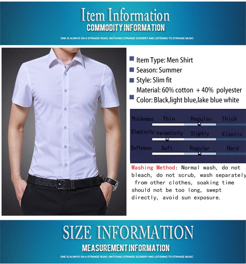 BROWON Brand New Formal Shirt Men Short Sleeve Shirt Turn Down Color Slim Fit Casual Shirt Plus Size M-5XL Camisa Masculina09
