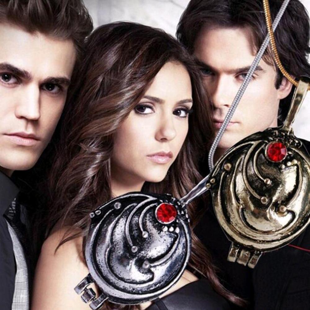 Elena Eisenkraut Halskette Vampire Diaries mit Anhänger und roten Stein Neu
