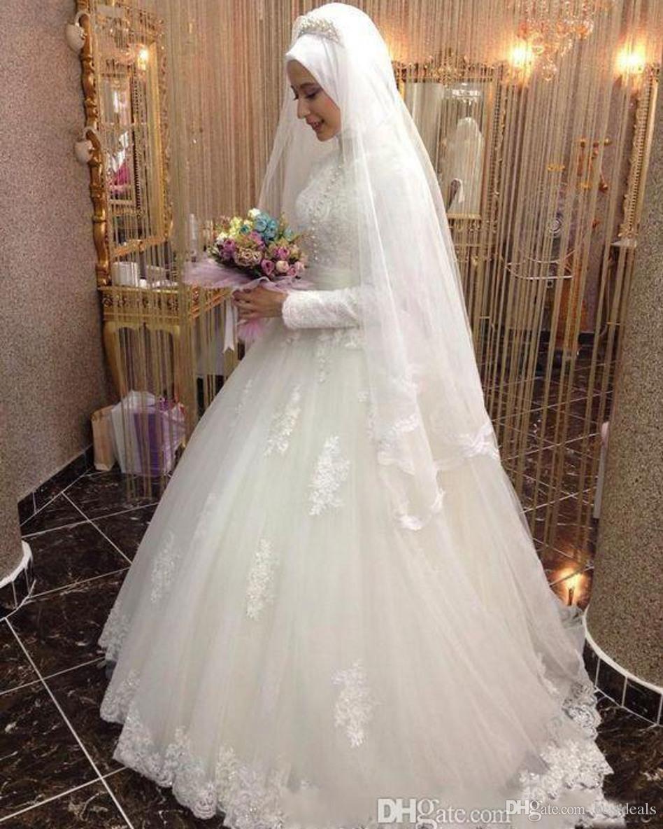 Arabic Bridal Gown Islamic Long Sleeve Muslim Wedding Dresses Arab Ball Gown Lace Hijab Wedding Dress 2017