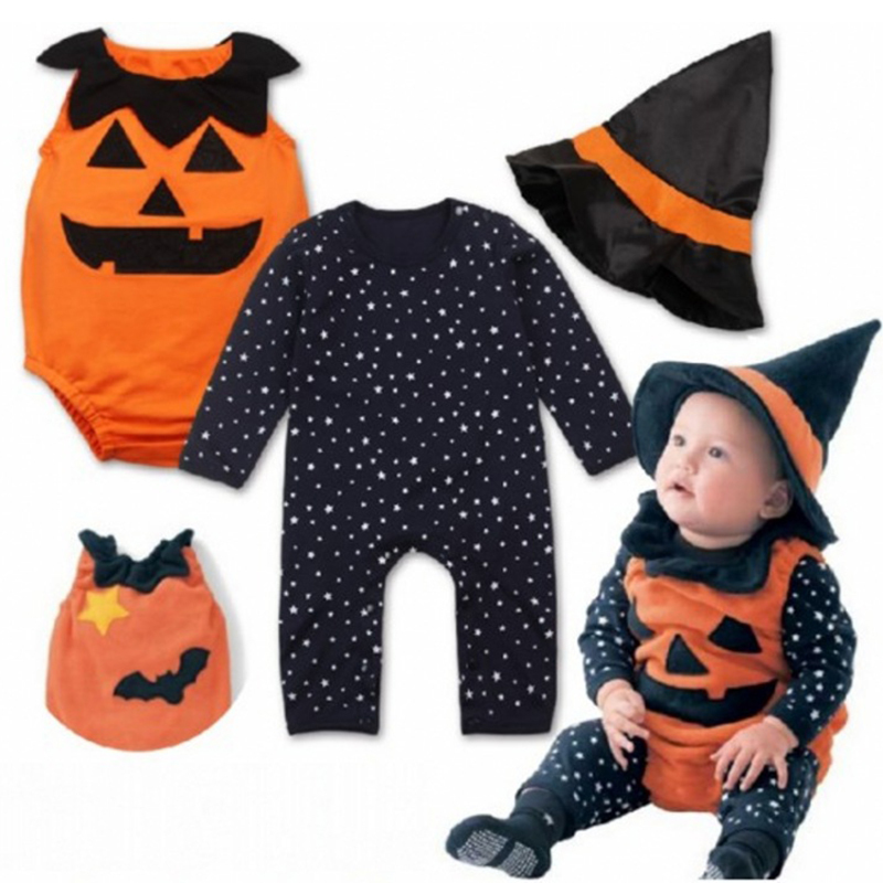 3 pcs Halloween baby clothing set pumpkin vest+star romper+wizard hat cosplay costume for 6-18M baby boy girls Festive gifts