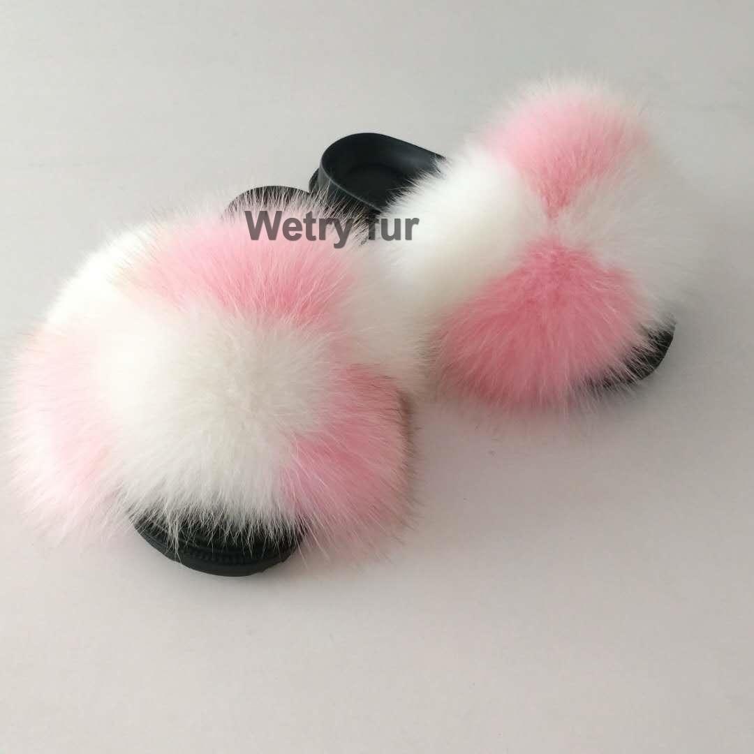 Kids Girl Toddler Youth Real Fox Fur Shoes Fur Sandals Flip Flops Slides Slipper
