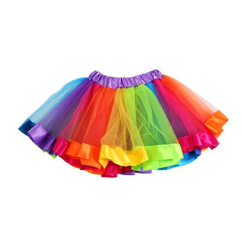 Summer Children Dress Baby Girls Kids Petticoat Rainbow Pettiskirt Bowknot Skirt Tutu Skirts Dance Skirt NDA84L19 (3)