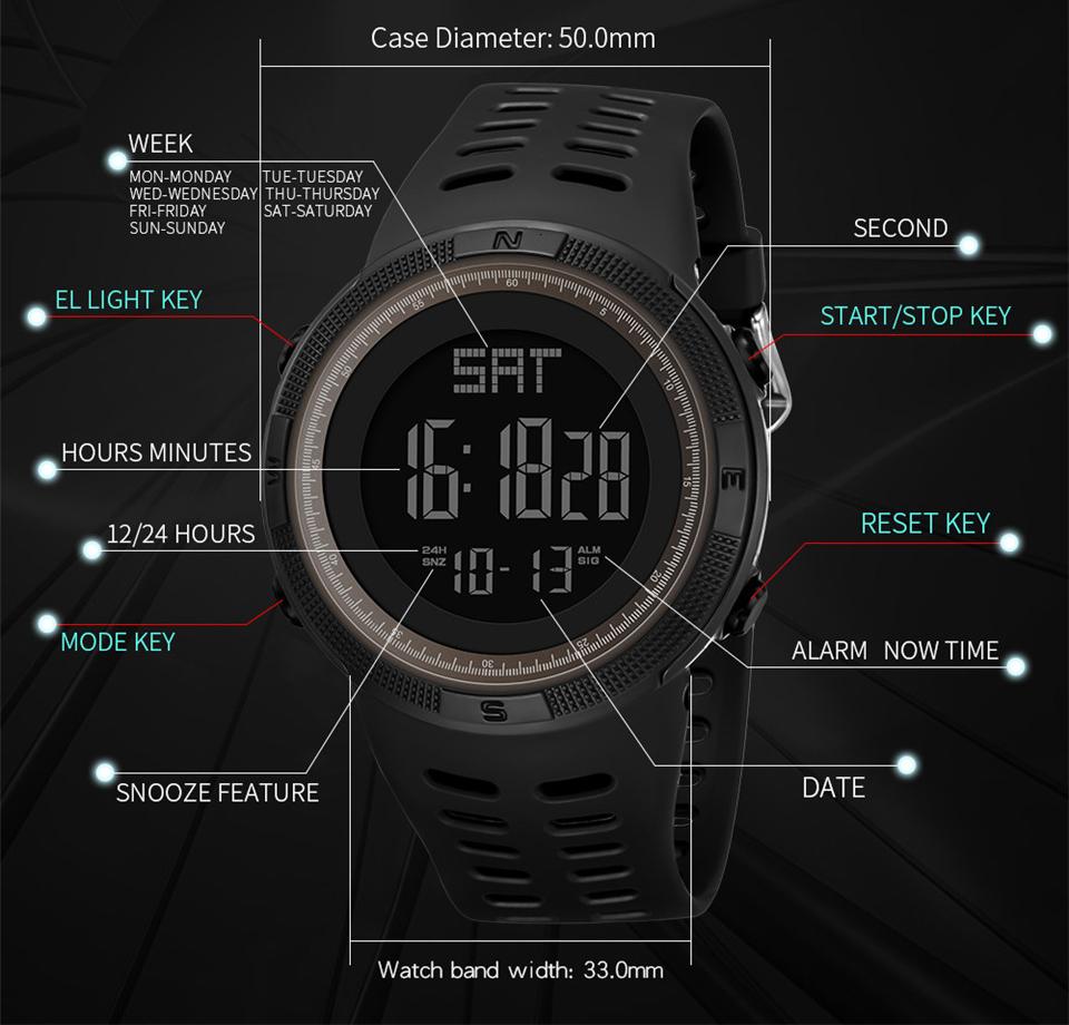 Sports Watch Men Digital Electronic Wrist Watch Waterproof LED Fitness Outdoor Watch For Running Chronograph Wristwatch Relojes (6)