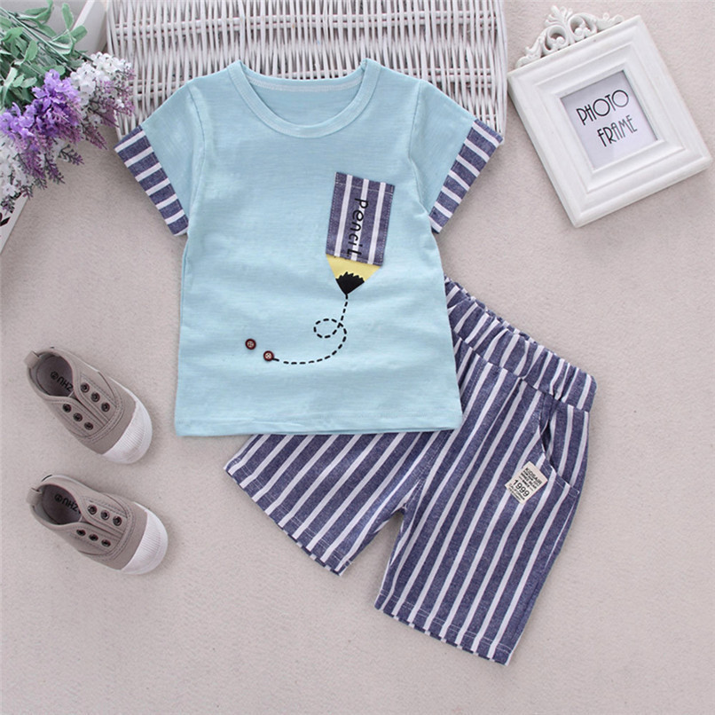 2PCS Baby Boys Sets Toddler Infant Kids Baby Boys Short Sleeve Cartoon Pencil T-shirt Tops+Striped Pants Set Baby Clothes M8Y18 (11)