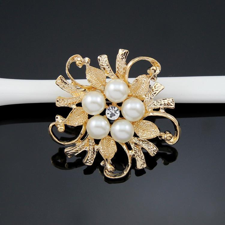Nuevo Flor De Plata Grande Perla Pin Broche Diamante Cristal Vintage Clavijas Nupcial UK
