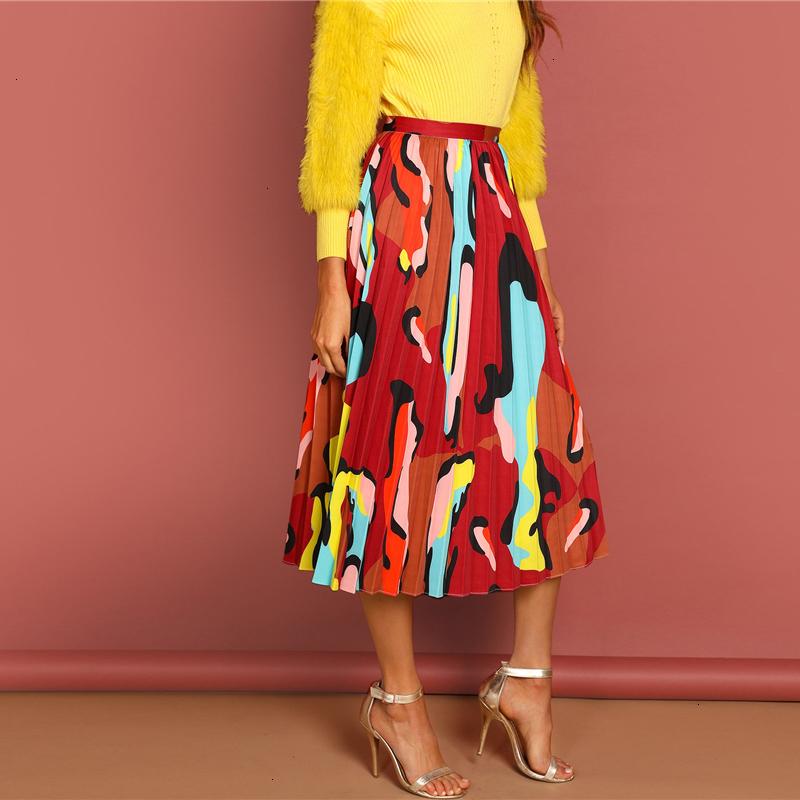 Kostlish Retro Print Flower Summer Skirts Womens High Waist Vintage Skirt Elegant A-Line Midi Women Skirt Plus Size XXL 22 (81)