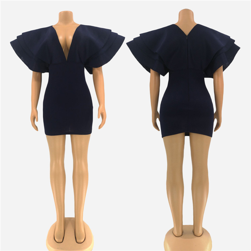 Women Batwing Sleeved Dress Deep V-neck Solid Bodycon Dresses Sheath Fashion Dress