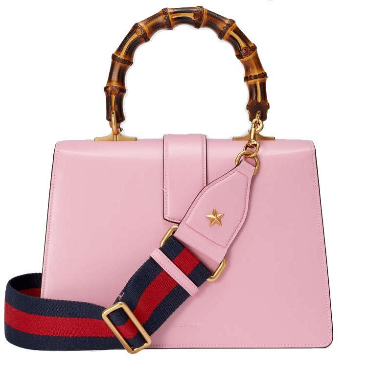 /  ladies fashion bamboo handles solid color shoulder bag striped handbag handbag 448075cwlmt8006 pink pink