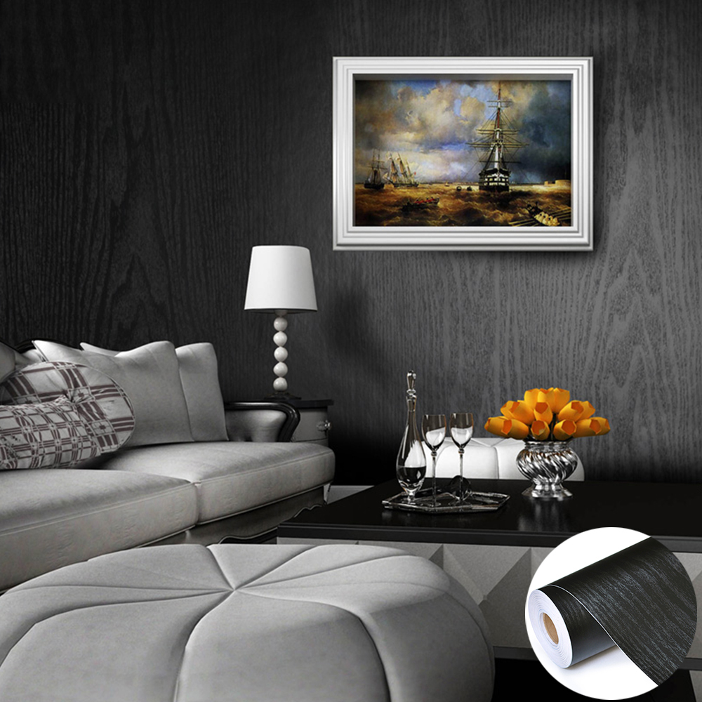 Papier Peint Chambre Mansardée faux noir cabinet bois papier peint pvc fonds d'écran belle plaine noire  pour le salon murs portes arrière-plan