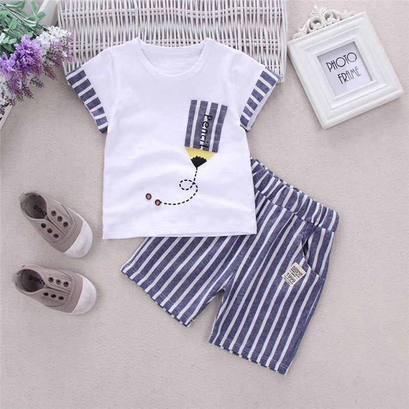 2PCS Baby Boys Sets Toddler Infant Kids Baby Boys Short Sleeve Cartoon Pencil T-shirt Tops+Striped Pants Set Baby Clothes M8Y18 (2)