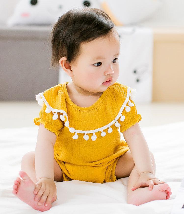 Cute Newborn Baby Girl Romper 2017 Summer short sleeve Princess fur ball Sunsuit One Pieces Tassel Clothes free drop shipping (5)