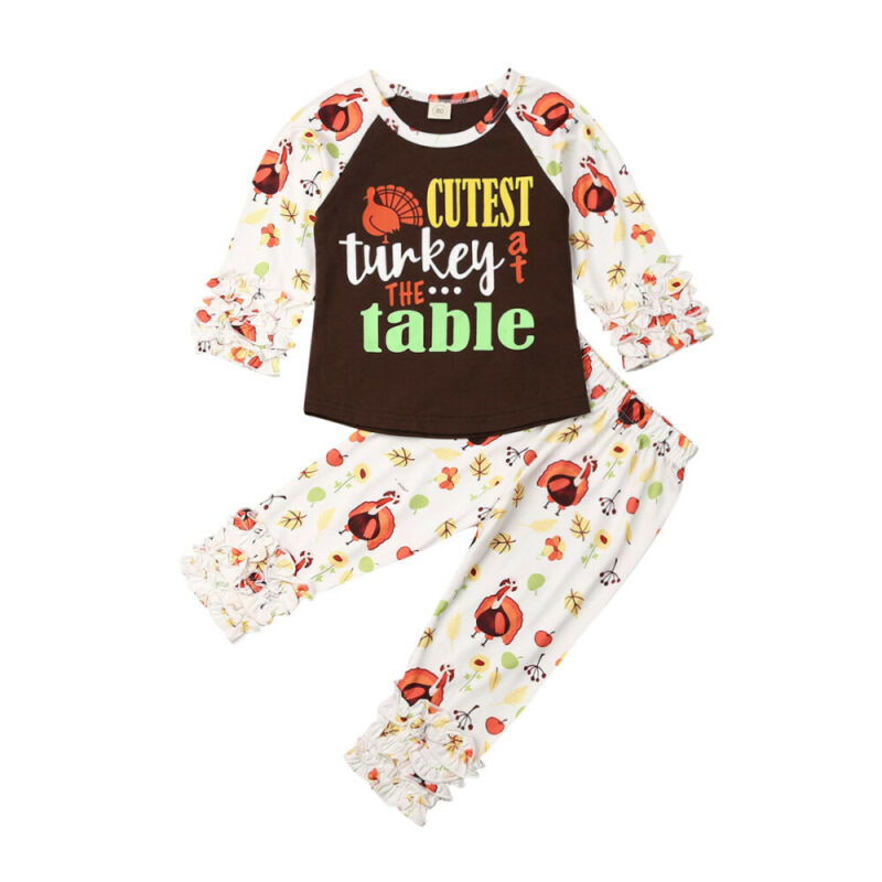 US Newborn Baby Girls Tops T-shirt Pants Leggings Thanksgiving Outfits Clothes
