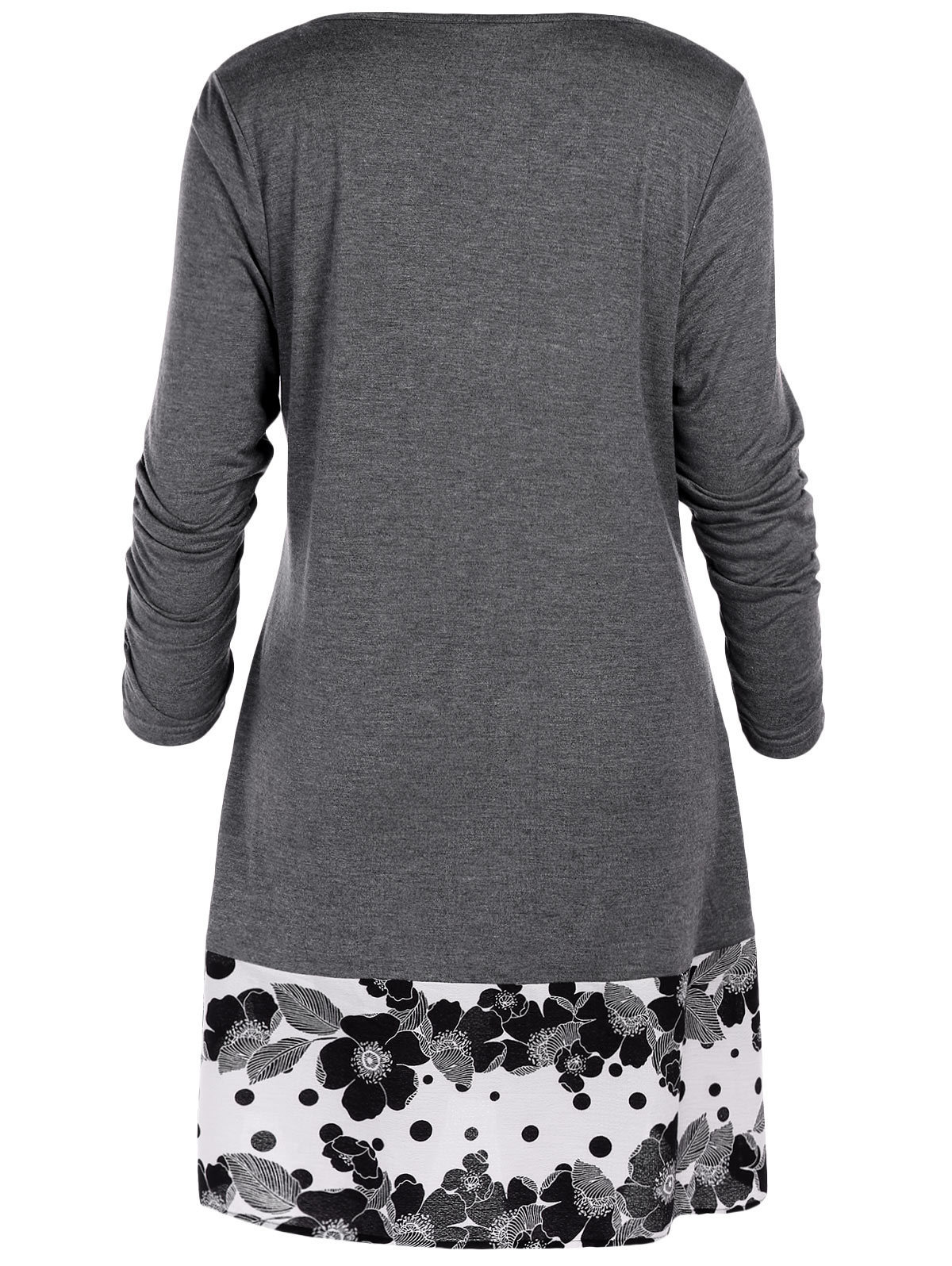 Wipalo Plus Size 5xl Draped Floral Tunic Shirts Long Sleeve O-neck Buttons Embellished Women Blouse Spring Casual Tops Tee Q190429