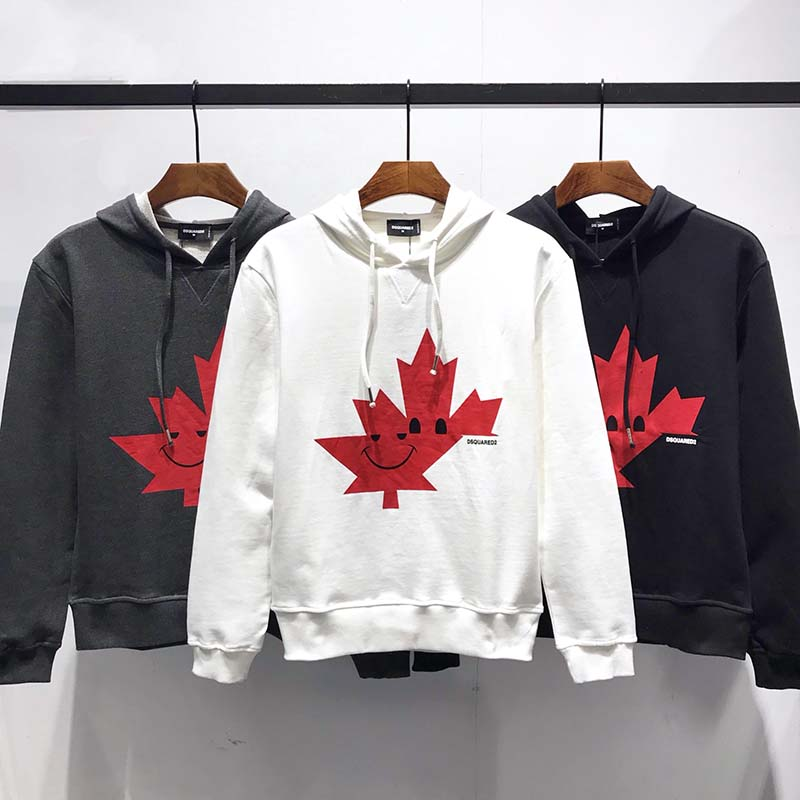 New Street Casual Letters Maple Leaf Pattern Printed Round Neck Couple Sports Jacket Loose Sweater Green,XL