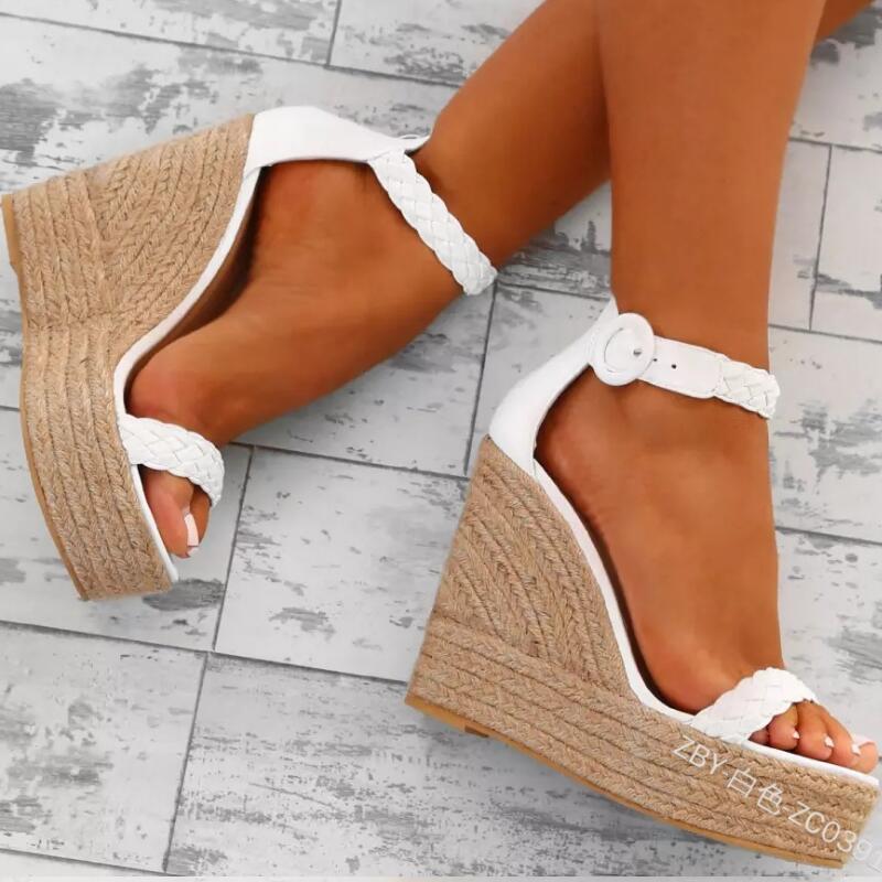 Estate Donna Tacchi alti Zeppe Sandali Gladiatore Moda Piattaforma Espadrillas Scarpe Donna Sexy Open toe Sandali Oro bianco Y19070303