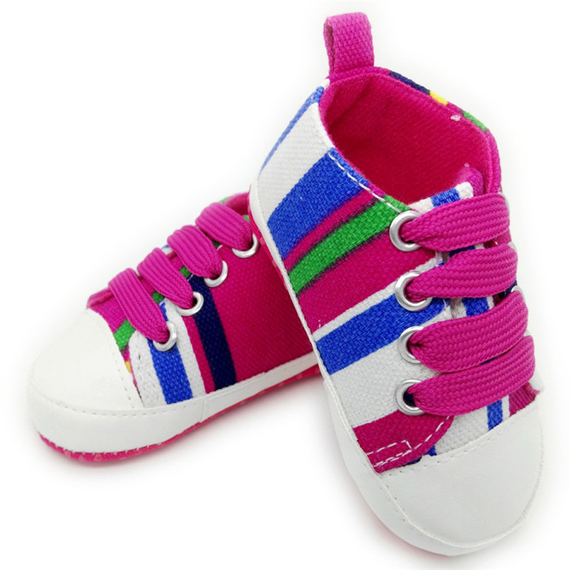 1 Pair Baby Shoes Newborn Infant Baby Boys Girls Stripe Soft Sole Anti-slip Canvas Shoes Baby First Walkers toddler shoes D4 (3)
