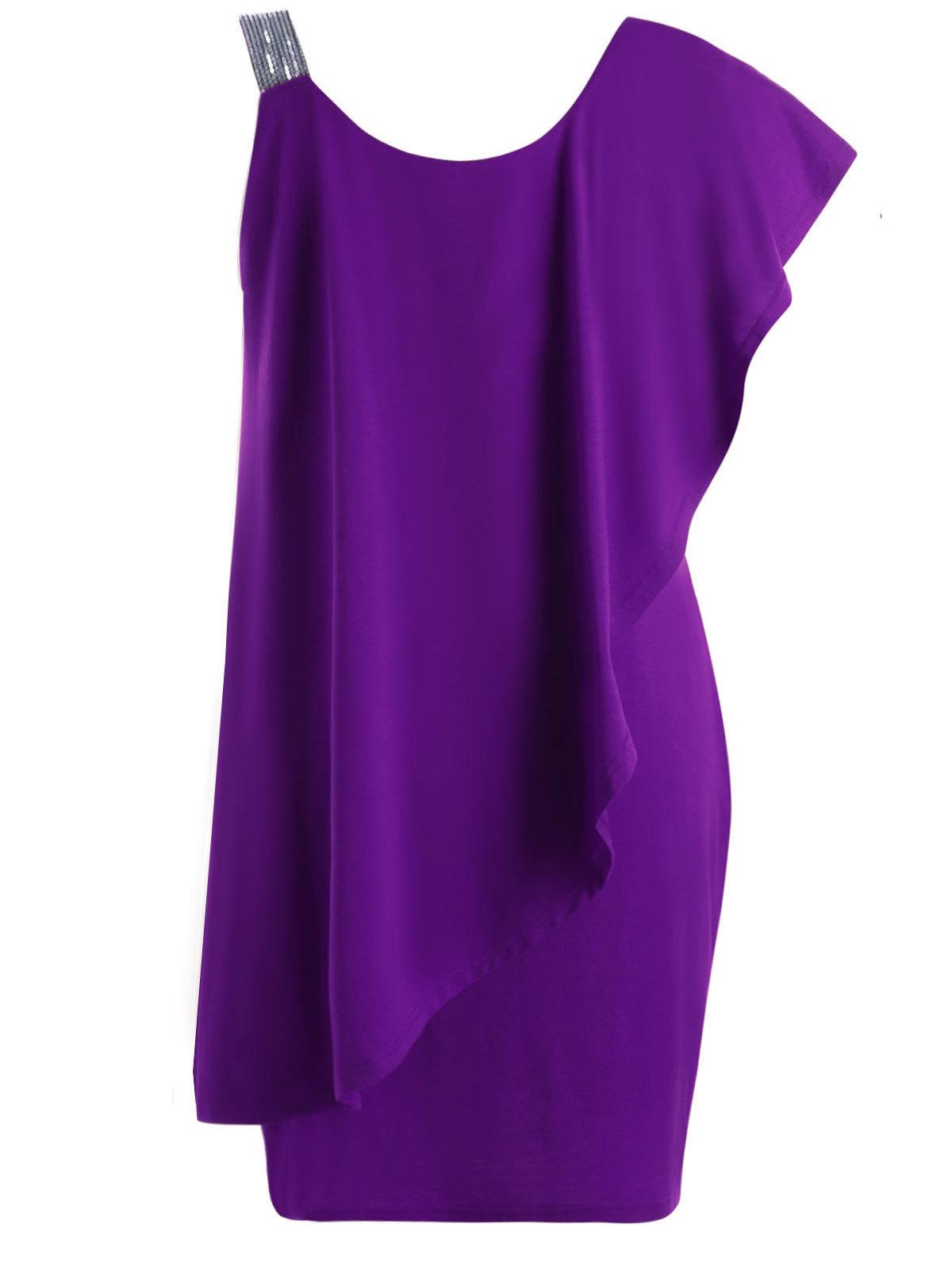 Plus Size Ruffles Sequins One Shoulder Mini Dress Women Summer Party Dress Sexy Bodycon Dresses Vestido Robes 5xl designer clothes