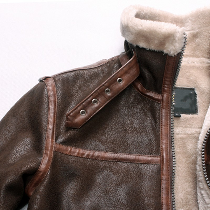 mens sheep leather stand collar fur lined fleece jacet slim short eotorcycle 6xl