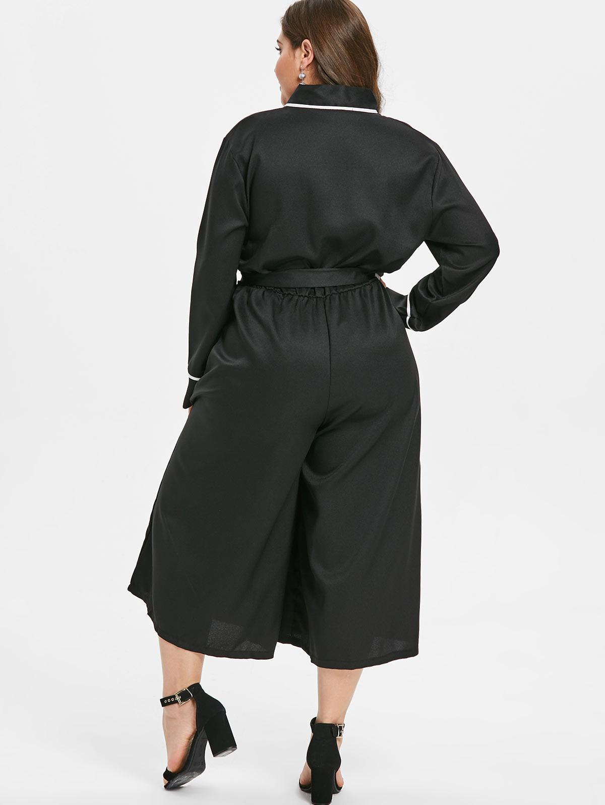 Wipalo Women Plus Size Long Sleeves Wide Leg Surplice Jumpsuit Japan Style Plunging Neck Bow Tied Belt Casual Solid Jumpsuit 4XL