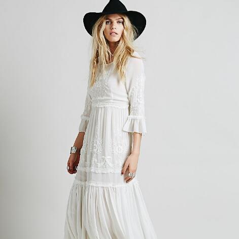 Rabatt Hippie Weisses Maxi Kleid 2020 Hippie Weisses Maxi Kleid Im Angebot Auf De Dhgate Com
