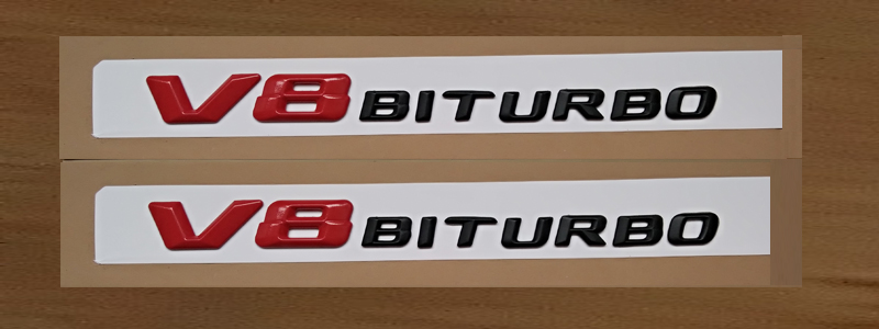 V8 V12 BITURBO pour AMG Autocollants Coffre De Voiture Arrière Lettres Fender Côtés Badge Emblème Emblèmes Badges Pour Mercedes Amg Benz TURBO AMG