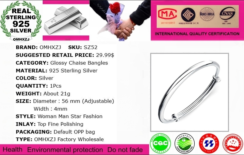 OMHXZJ Wholesale jewelry Round Glossy Chaise Woman Child Fashion Exquisite Bangles 925 Sterling Silver Bracelet Adjustable SZ52