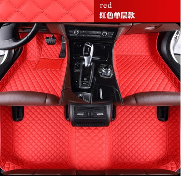 Custom Car Floor Mats for Benz GLK Class 2008-2014 Waterproof Non-Slip Leather Carpets Automotive Interior Accessories Black with Red Line 1 Set