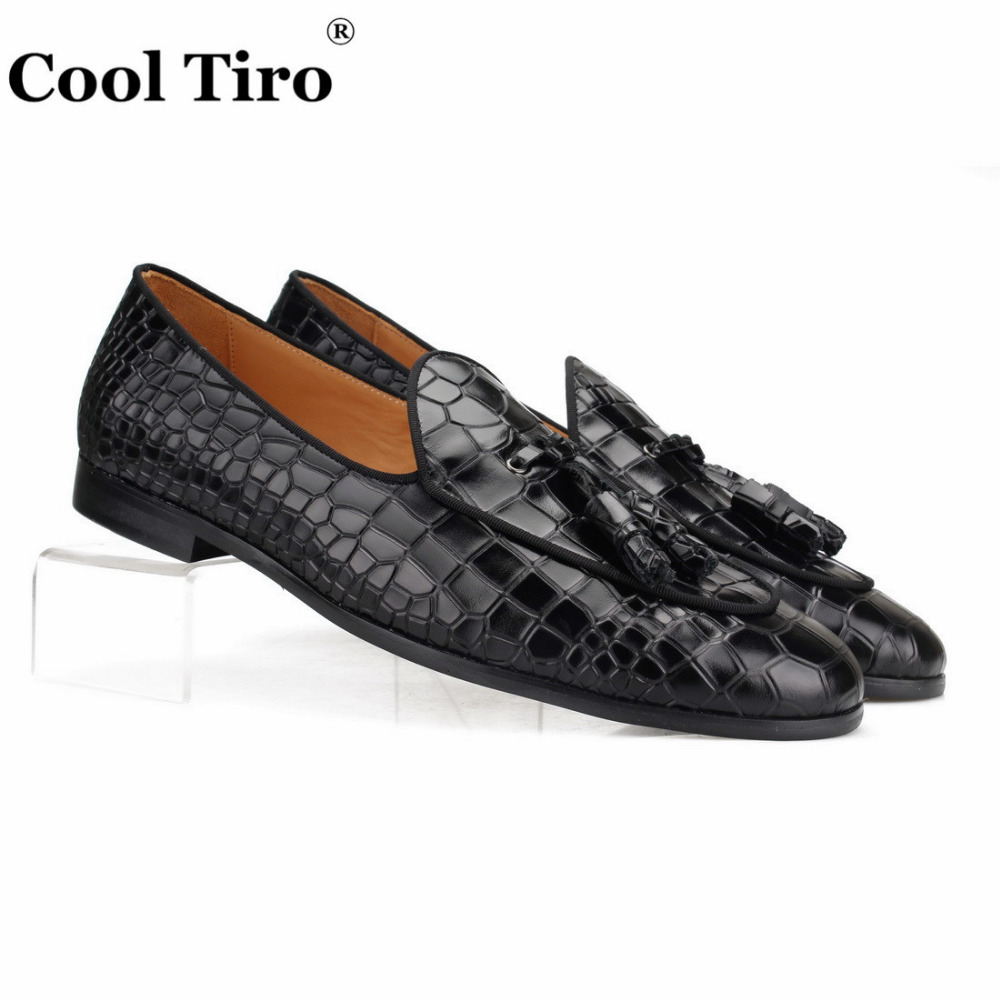 black CROCODILE LOAFERS WITH TASSELS (1)