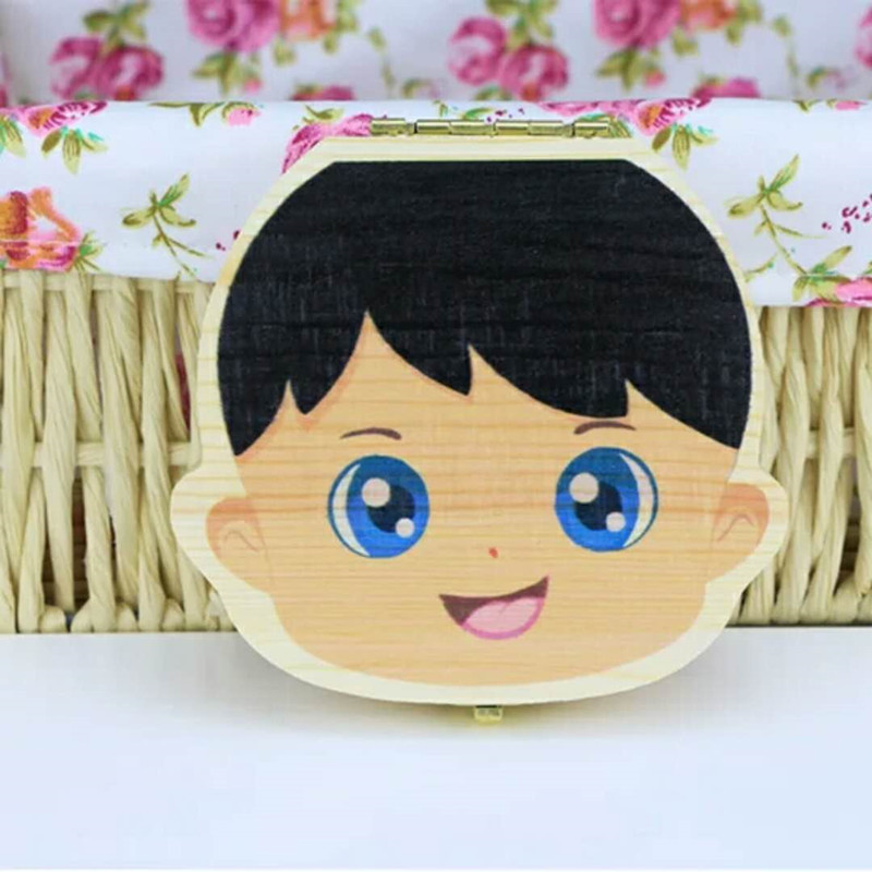 Immagazzinaggio colorato Baby Dente Scatola di immagazzinaggio i bambini Salva latte Denti Ragazzi ragazze Immagine Legno Organizer Deciduo Denti Scatole regalo creativo Nuovo
