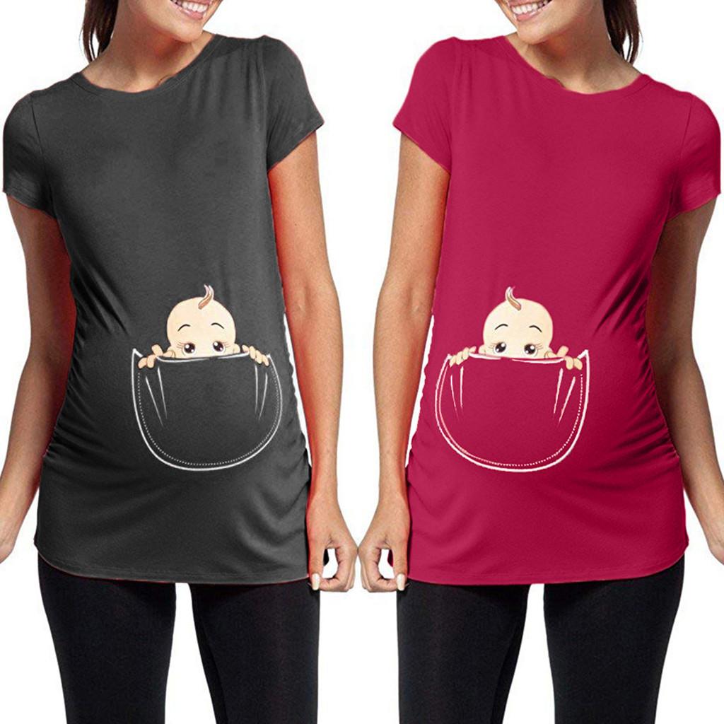 Cartoon Baby Print Top starrte Damen Mutterschaft schwanger T-Shirt Umstandsmode