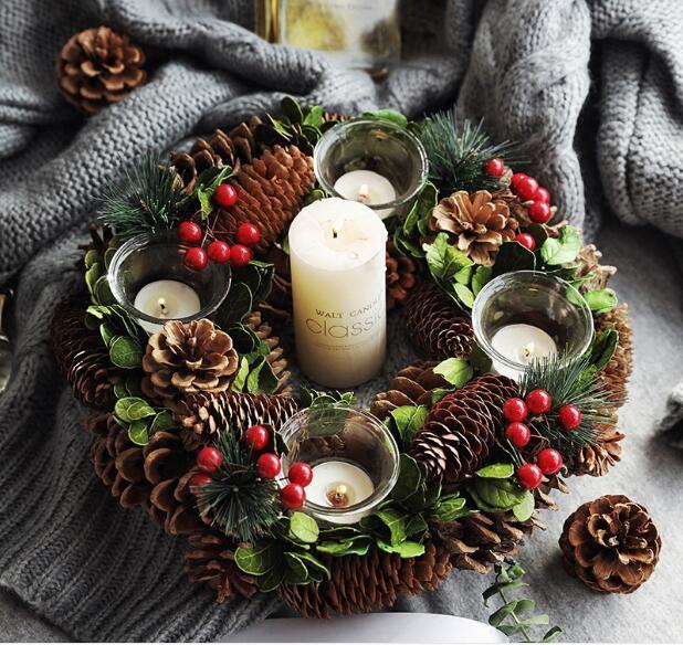Rustikales Dekor Kranz Startseite Kerzenhalter Christmas Centertischdekoration Natal Weihnachtskerze Ring Winter Dekoration Kränze Y200111