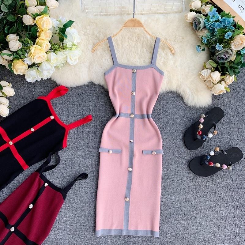 A-Line без рукавов бинты мини платье Женщины 2019 Stretch моды жилет Топ Vestidos Кнопка Элегантные платья-футляр
