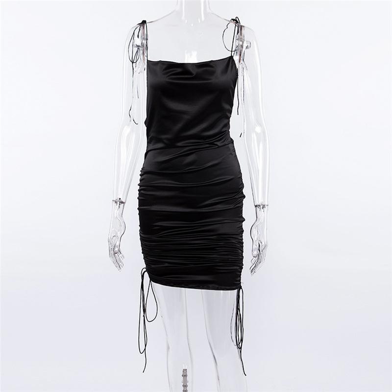 Le donne mini abito di seta increspato kaki e abiti neri Runway Style Moda Solid senza spalline Colore Vestidos donna Abbigliamento Outfits