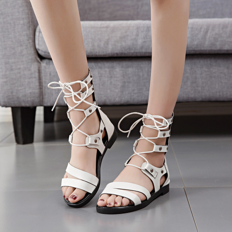 Overseas2019 Woman Sandals Rome Summer Fashion New Pattern Level With Crossing Bandage Toe Rivet Student Thin Cool Boots