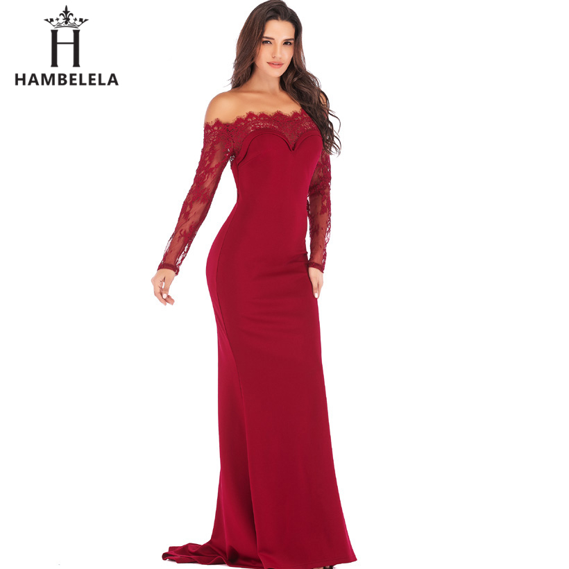 HAMBELELA Robe De Soiree Longue Long Sleeve Mermaid Evening Dresses Formal Evening Gowns China Vestido Longo Bodycon Lace Dress (8)