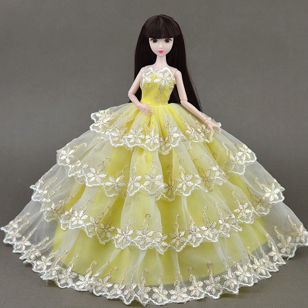 Stylish 4-Layers Lace Wedding Dress Clothes for Baribe for DOD SD DD 1/6 BJD Ball Jointed Doll Dress Up