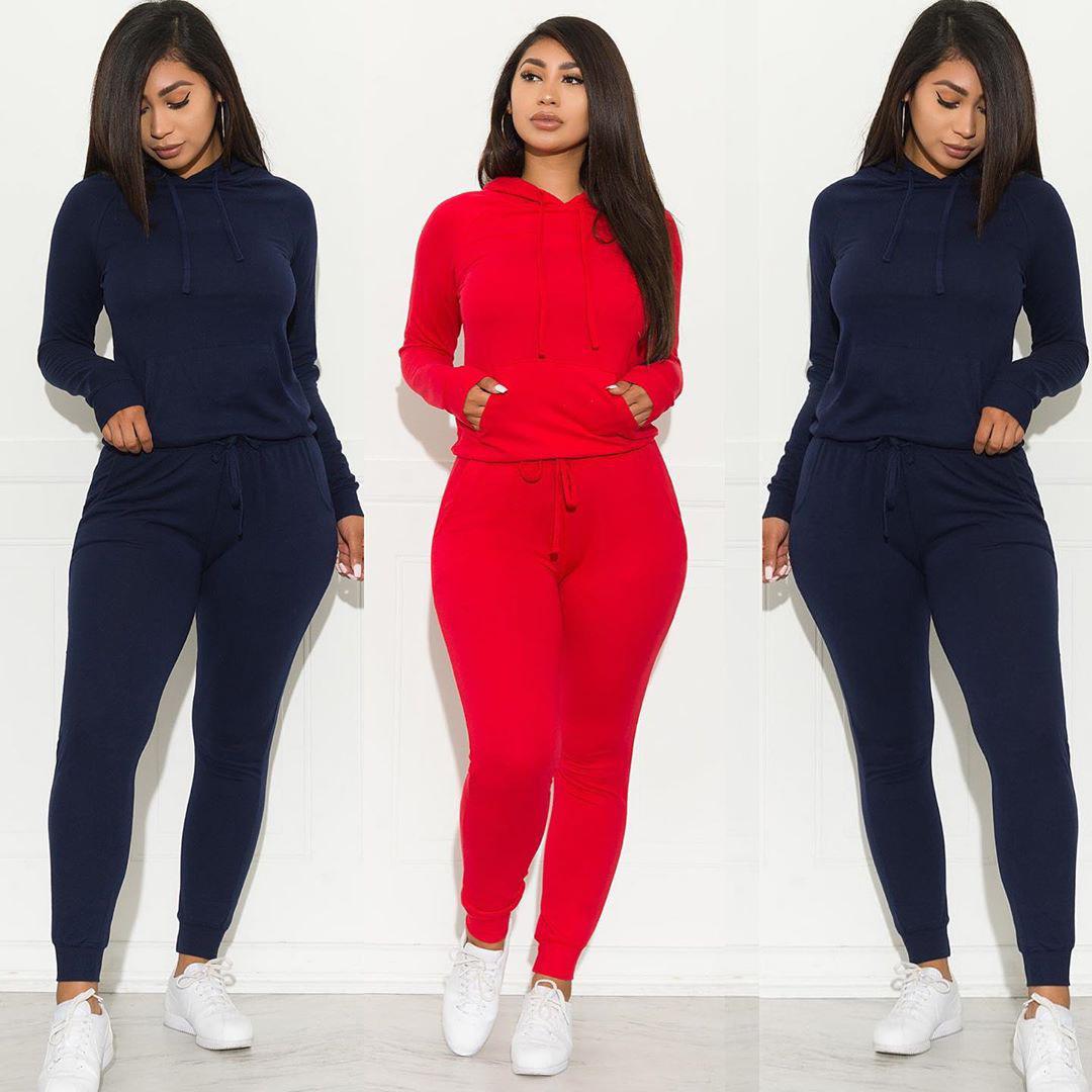 Conjuntos de 2 piezas para mujer, conjunto de sudadera con capucha y cremallera de manga larga y conjunto de pantalón largo ajustado
