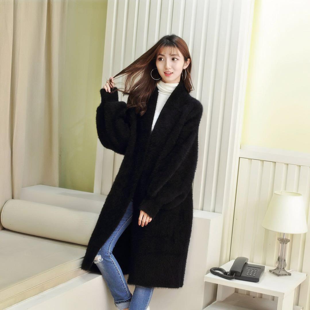 Manteau manches Batwing en tricot long Cardigans épais synthétique Mink cachemire Cardigan femmes hiver