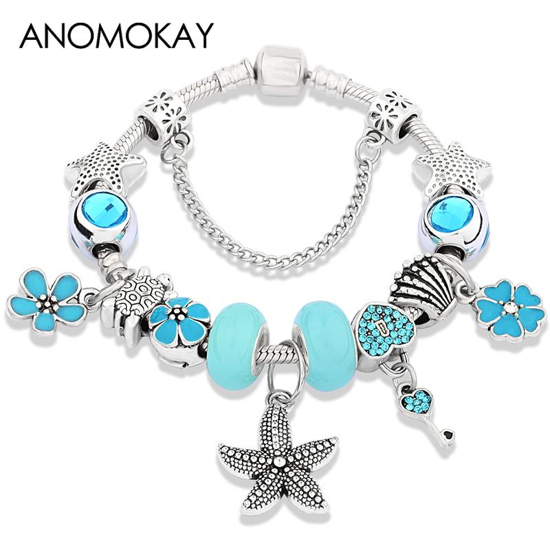30pcs À faire soi-même étoile de mer European Crystal Charm 925 Argent Perles Fit collier bracele