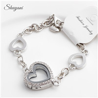 10PCS-LOT-New-2015-Heart-Floating-Locket-Charm-Bracelet-Bangles-Rhinestone-Glass-Living-Memory-Locket-Pendant
