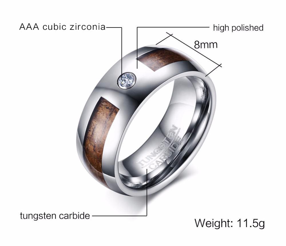 Mens Tungsten Carbide Rings Wood Grain CZ Inlay Tungsten Wedding Band Fashion Jewelry 16