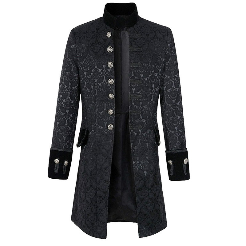 Mens Western Retro Style Trench Windbreaker Solid Color Steampunk Long Sleeve Jacket Male Single Breasted Collar Jacket Uniform