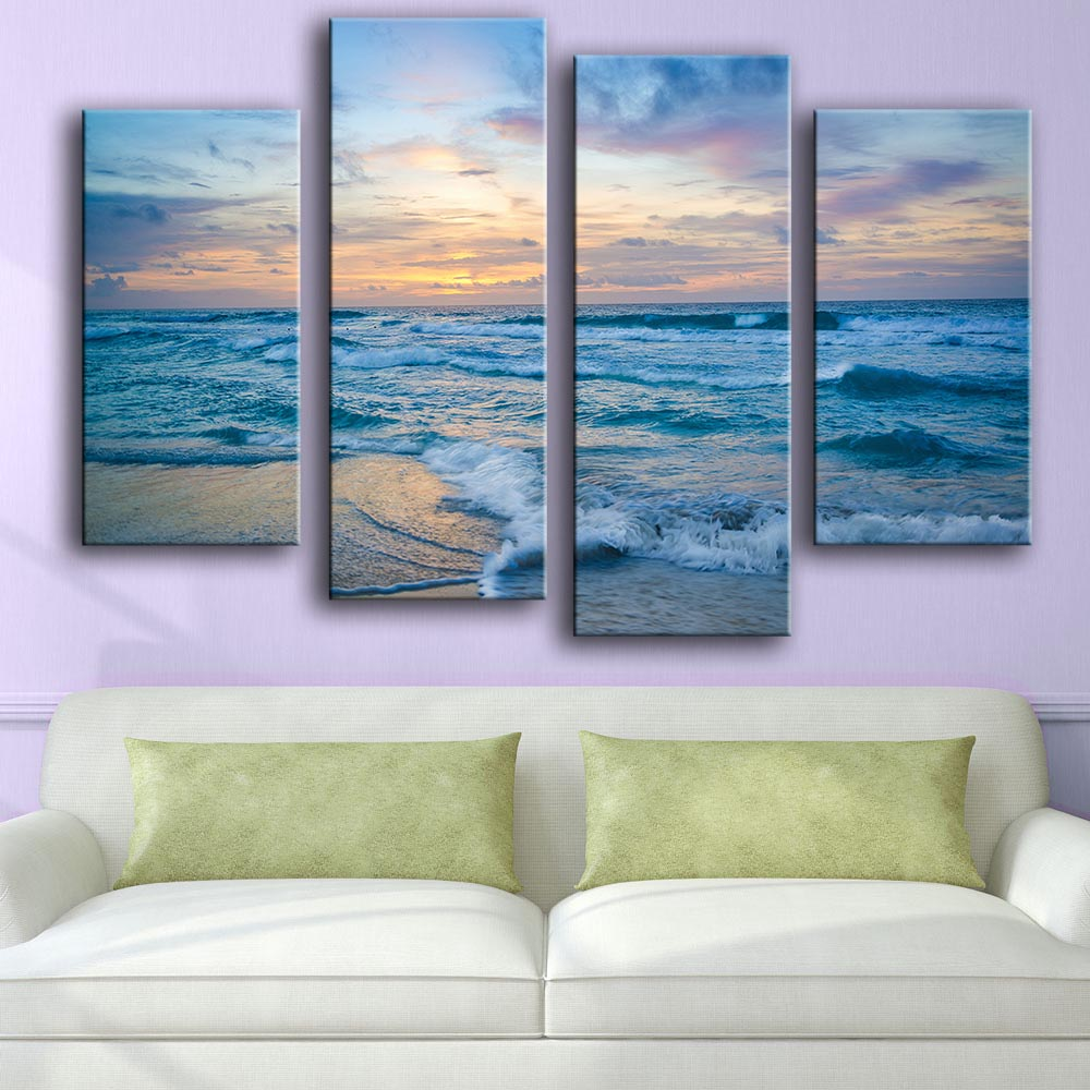 Frame Wall Art Poster Home Decoration Living Room Canvas HD Print Blue Wave Sunset Sea Scenery Painting Modular Pictures