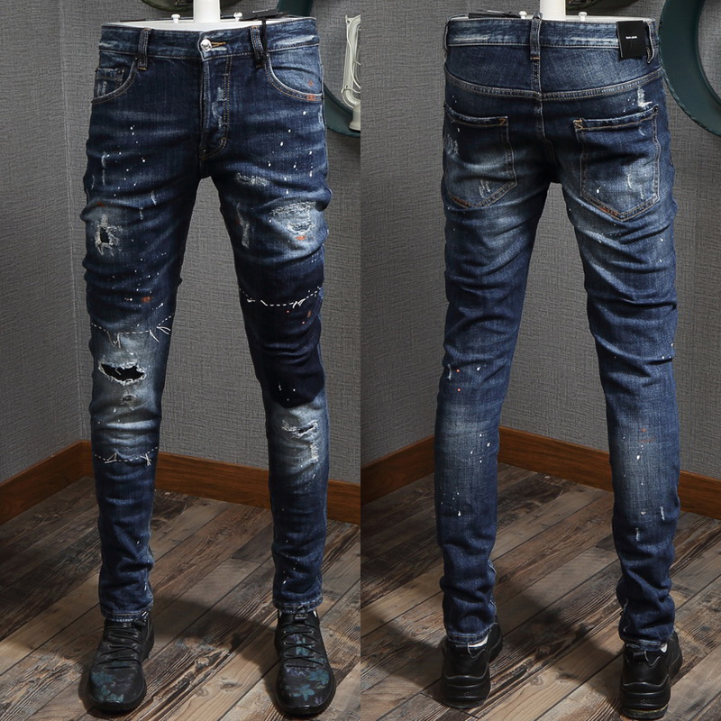 New Men/'s Cool guy Jeans Fashion Skinny Pants ripped with Chain Italy size