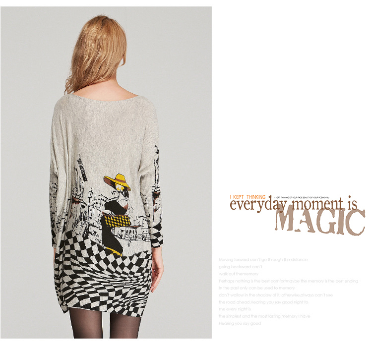 Autumn new European and American women fat mm large size sweater loose was large size printed pullover women (6)