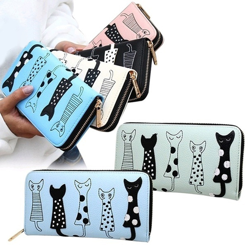 Pink Ouneed /® Cute Lovely Zipper Cat Clutch Wallet Long Card Holder Purse Handbag