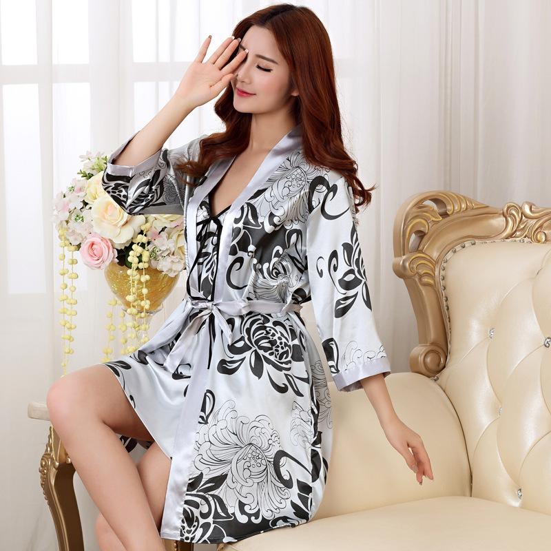 Sexy Print Female Robe Set Satin Rayon Bathrobe Women Kimono Bath Gown Casual Sleepwear Nightwear Bridesmaid Robes Suit