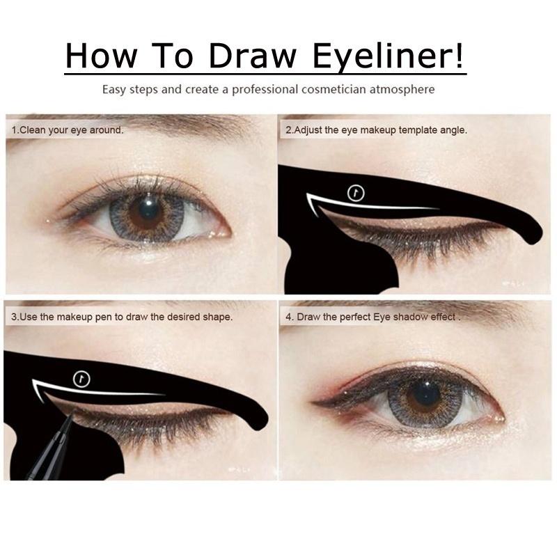 Beauty Eyebrow Mold Stencils Women Cat Line Pro Eye Makeup Set Tool Eyeliner Stencils Template Shaper Model For Women Girl
