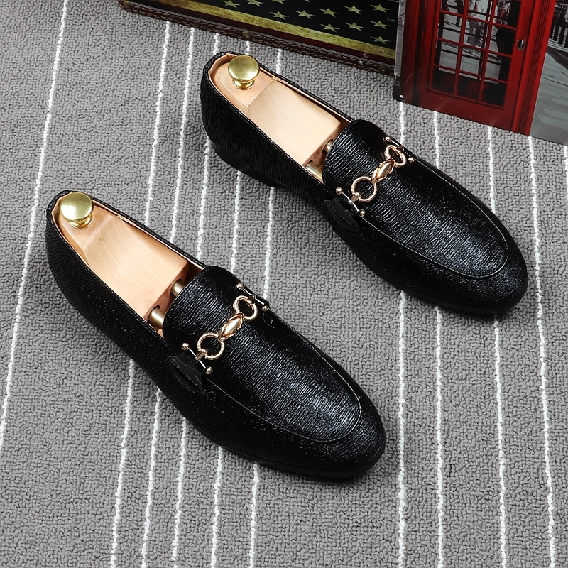 Memorable2019 Small Black Light Sheath Foot Dawdler England Trend Leisure Time Leather Shoes Summer Ventilation Single Shoe