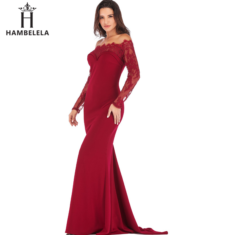 HAMBELELA Robe De Soiree Longue Long Sleeve Mermaid Evening Dresses Formal Evening Gowns China Vestido Longo Bodycon Lace Dress (11)
